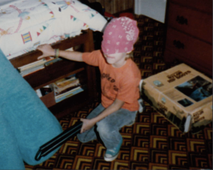 This is me as an 8-year old playing Daredevil. Gumby played the part of Kingpin.